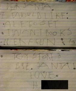 H's letter to Santa